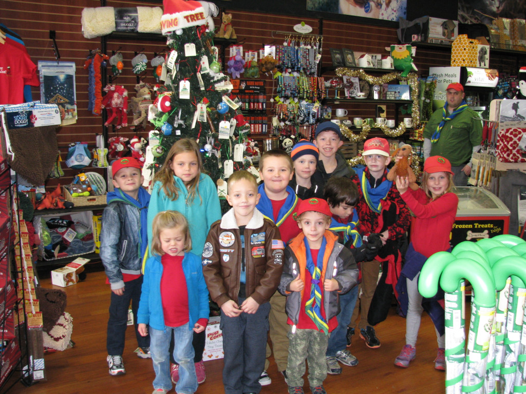 Otter Scouts at the Giving Tree. L-R: Riley Pacienza, Kyra Perkins, Corrine Perkins, Zane Page, Nicoli Morgan, Sara Ball, Samuel Castelo, Dylan Ball, Julian Hontz, Alex Chase and Carolyn Williams.