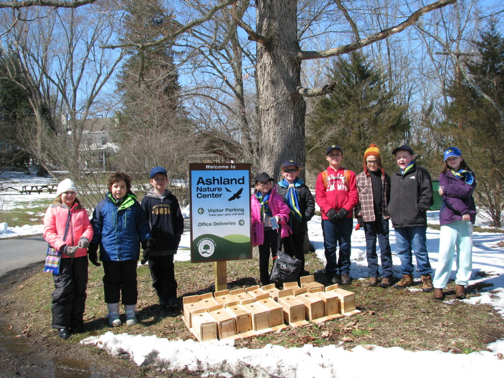 64th Brandywine Timberwolf scouts deliver bird boxes to the Ashland Nature Center. (L-R): Alycia Alford, Nathaniel Hontz, Eoin Mitchell, Hadyn Wiseman-Null, Lily Martin, Zachary Swager, Sebastian Seavey, Henry Grimme, and Jill Chase.