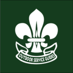 A white fleur-de-lis against a dark green background. Underneath is the white outline of a banner with the words Outdoor Service Guides inside the banner